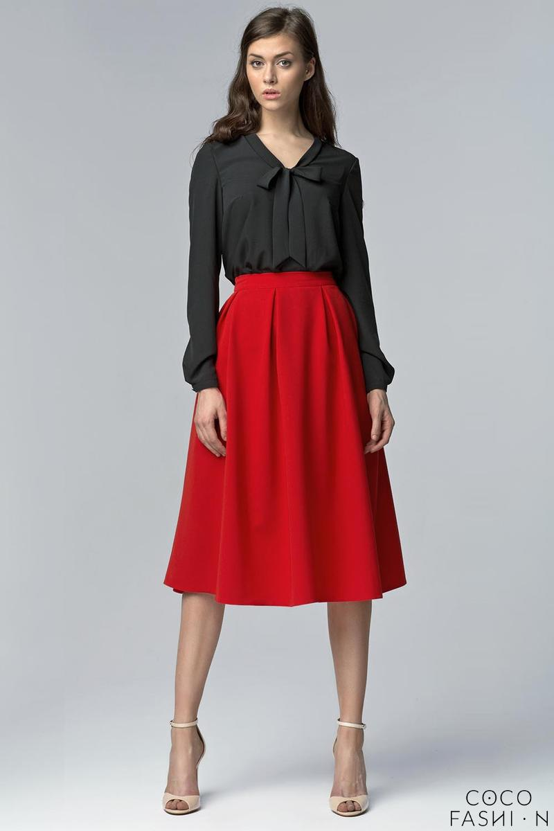Red Retro Style Flared Light Pleats Midi Skirt with Pockets