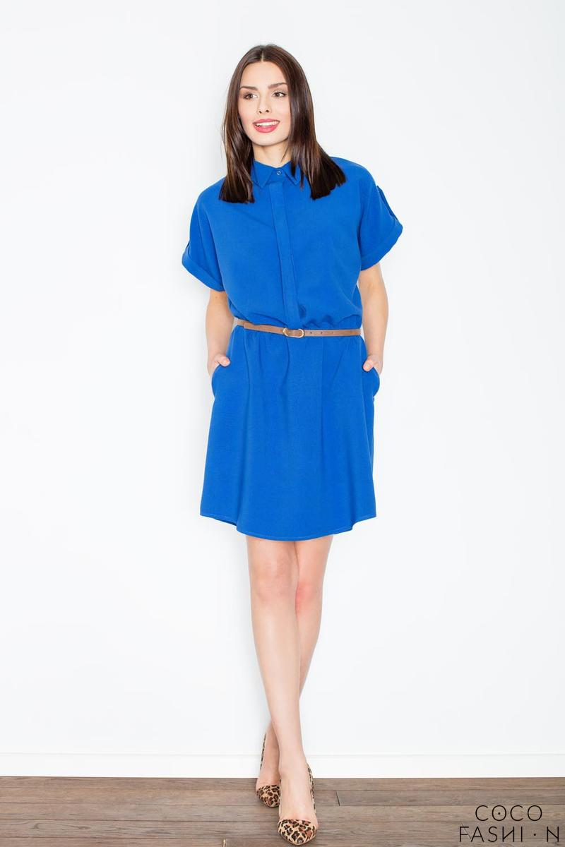 Blue Shirt Dress with Rolled-up Sleeves