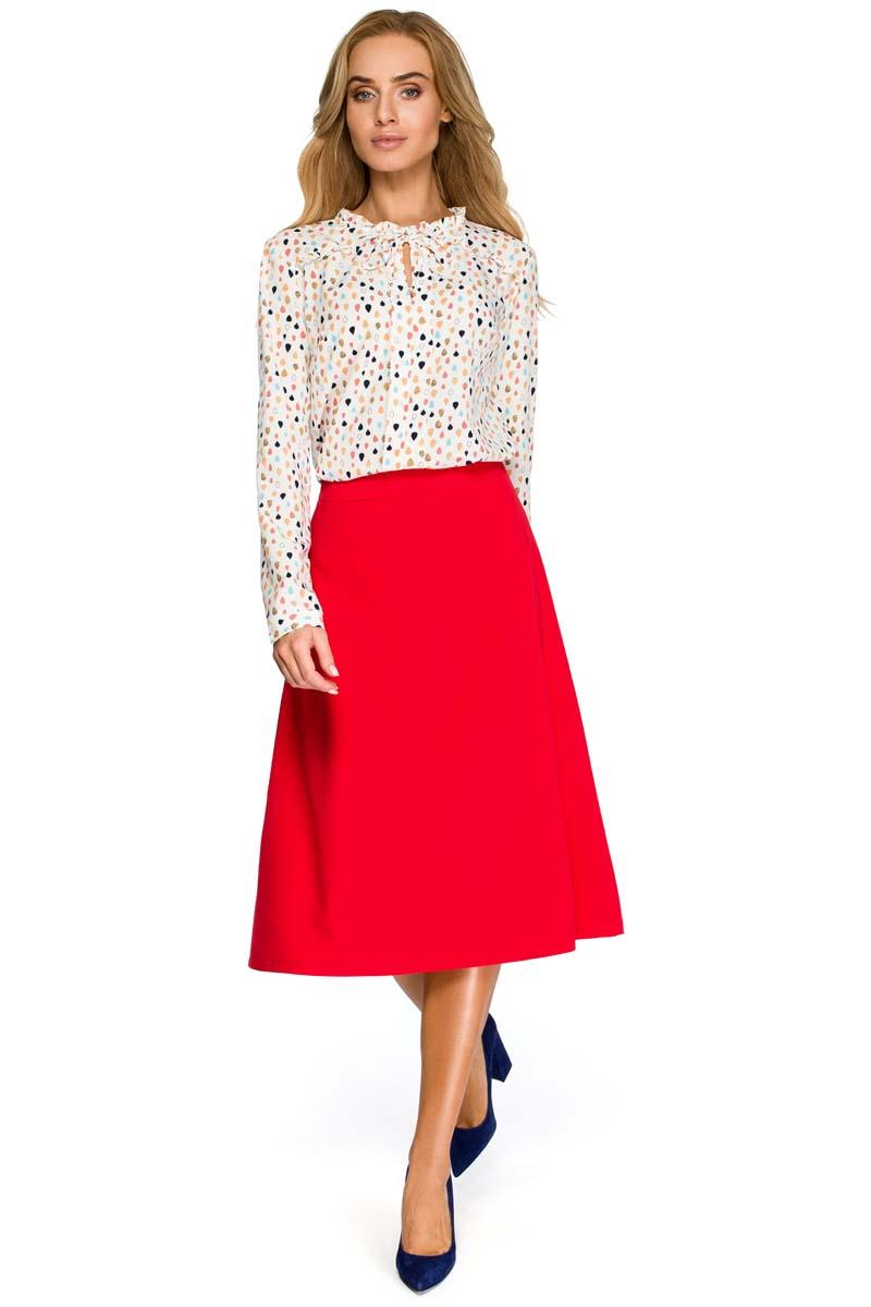 Red Flared Classic Midi Skirt