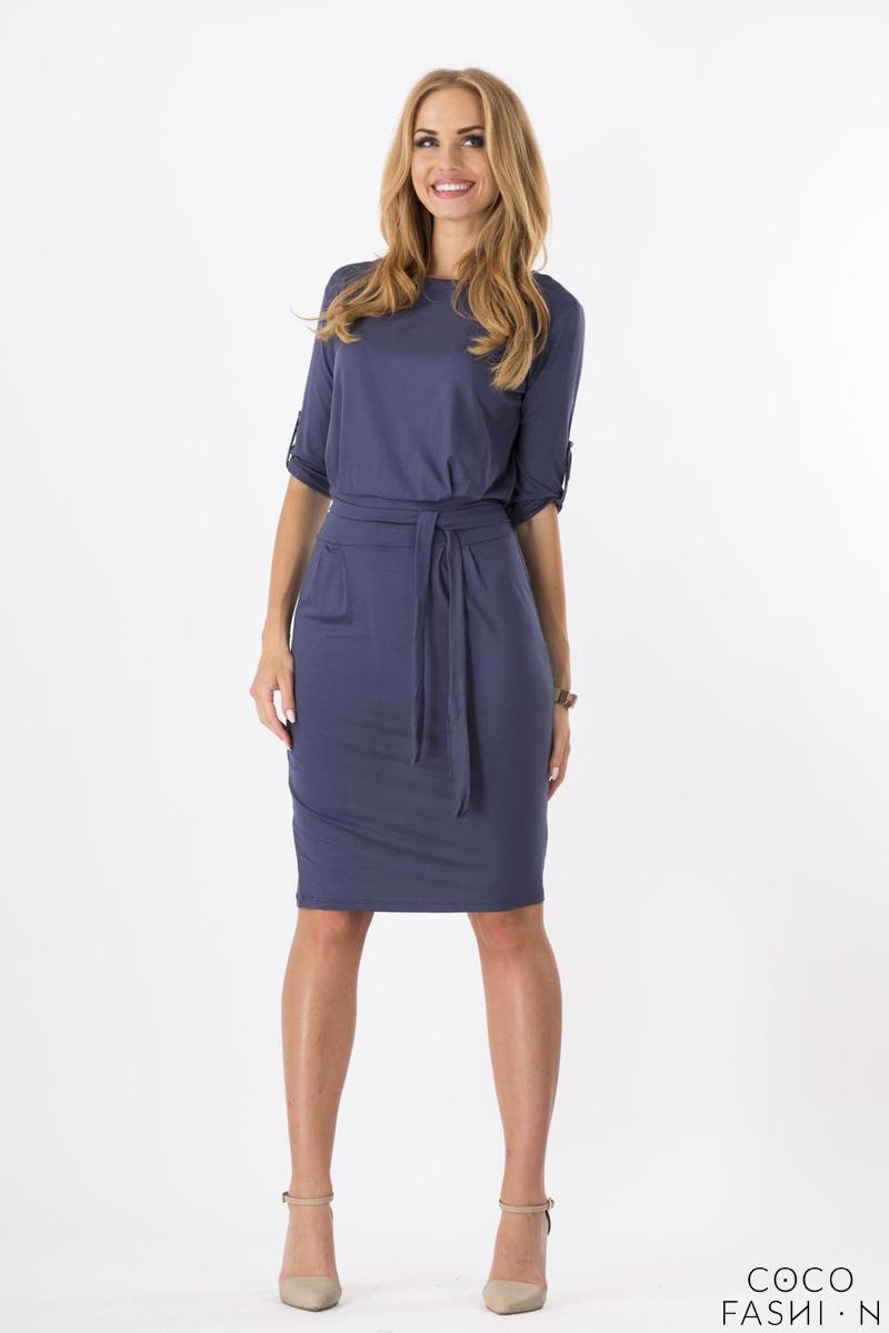 Dark Grey Casual Self Tie Belt and Rolled-up Sleeves Dress