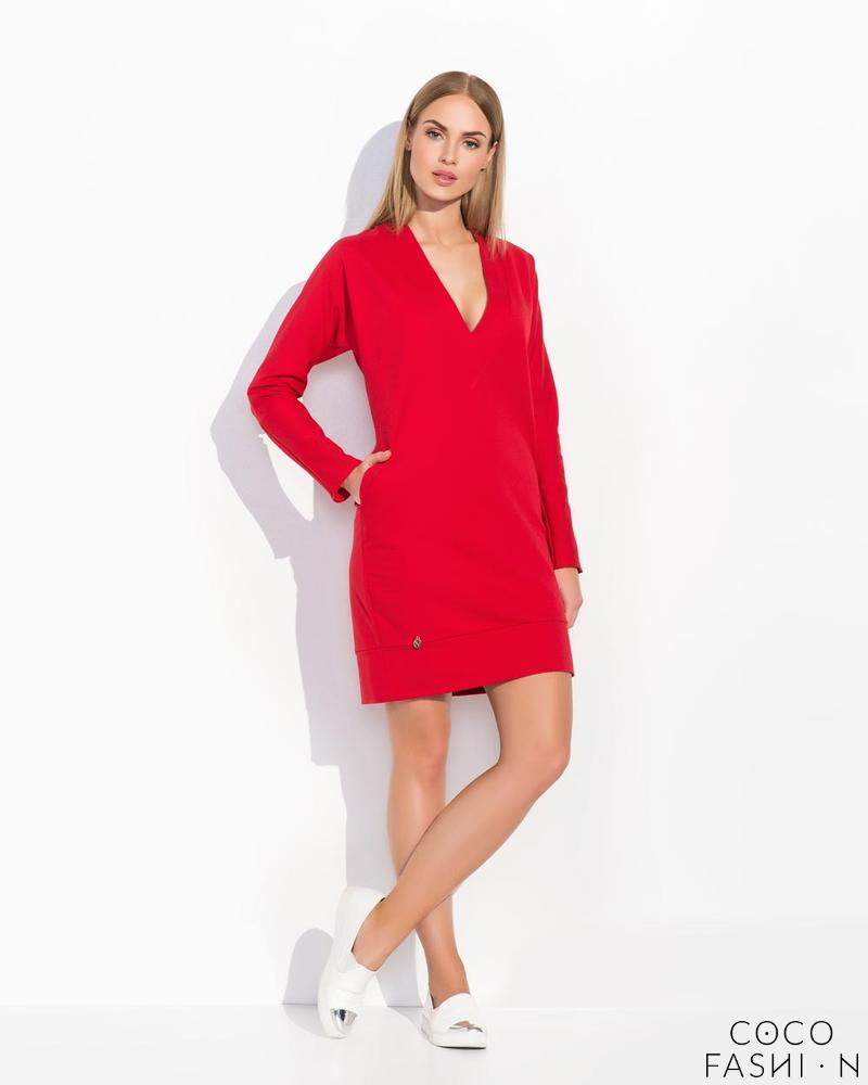 Red Simple Style V-Neckline Long Sleeves Casual Dress от cocofashion
