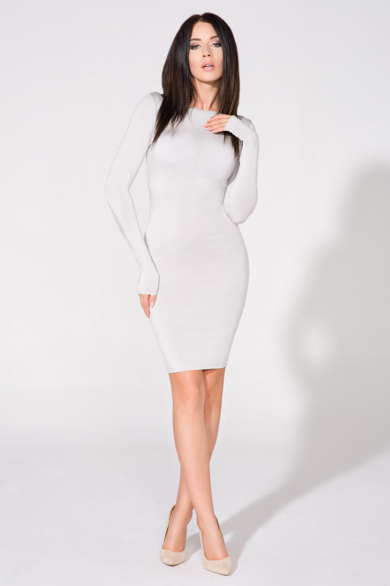 Light Grey Bodycon Open Back Dress
