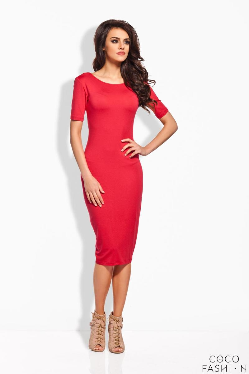 Red Bodycon Fit Short Sleeves Midi Dress