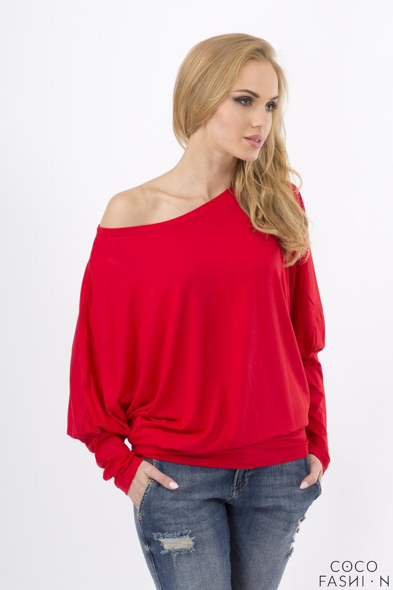 Red Casual Long Bat Sleeves Blouse