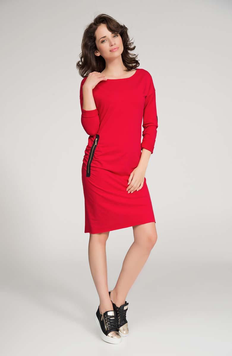 Red Casual Dress with Zippers