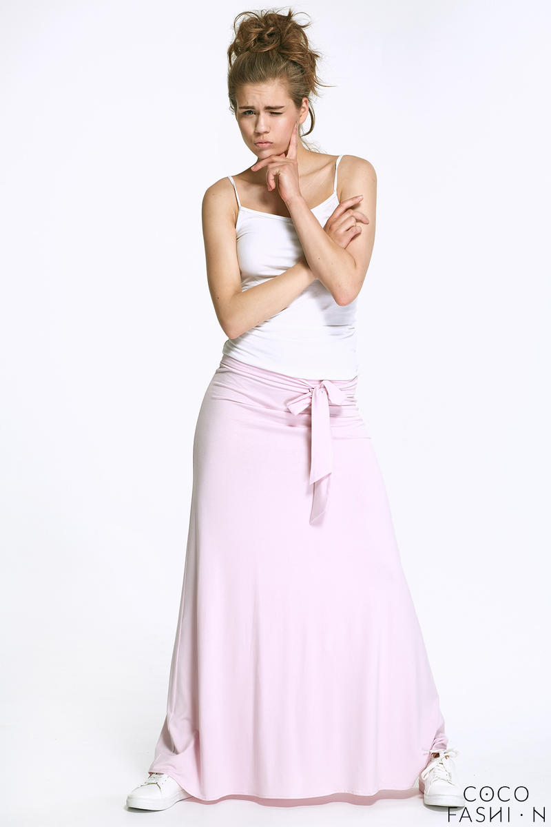 Pink Maxi Long Skirt with Self Tie Sash