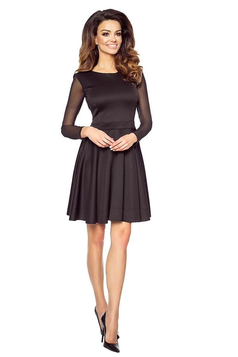Black Elegant Transparent Sleeves Prom Dress