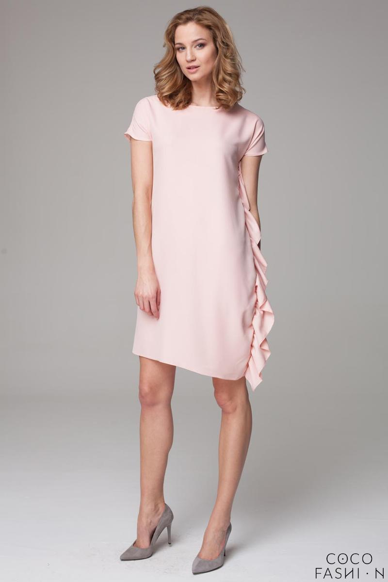 Pink Simple Dress with Asymetrical Frill