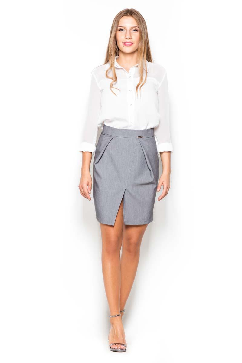 Grey Mini Pencil Skirt with Pockets