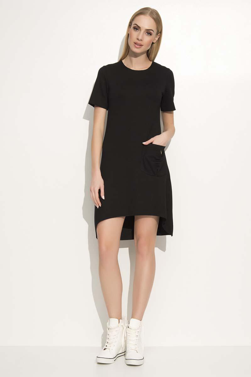 Black Dipped Hem Casual Dress