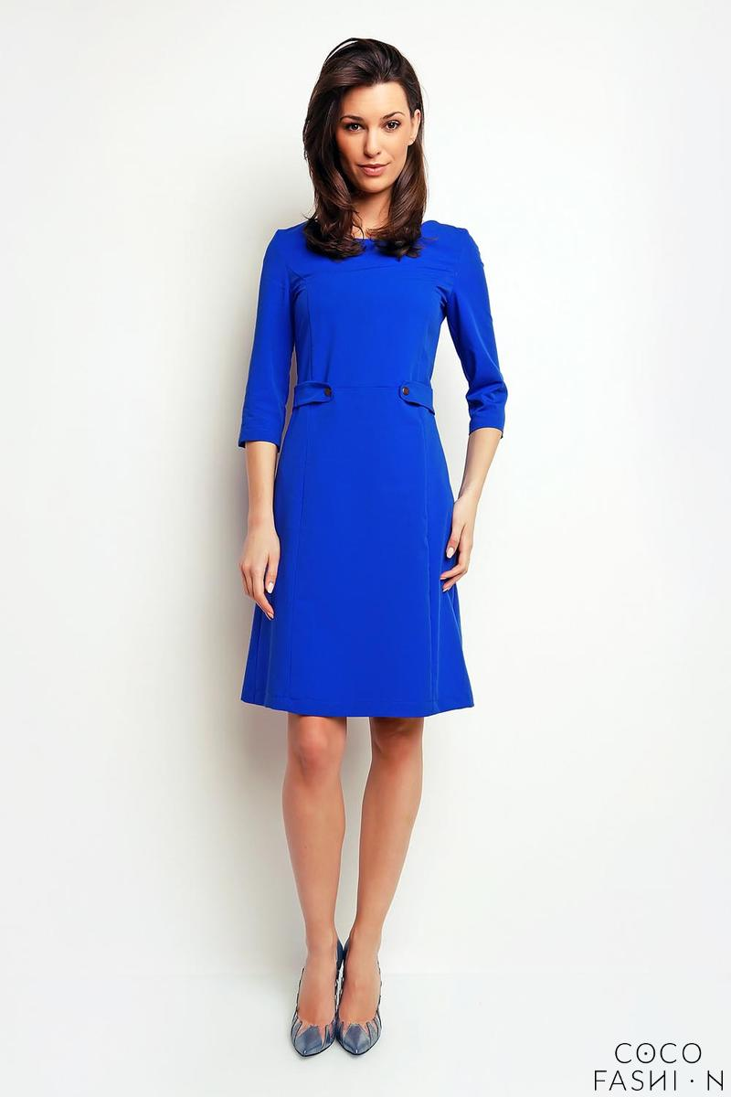 blue-simple-office-style-34-sleeves-dress