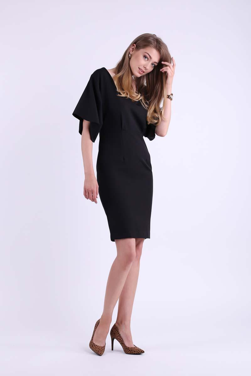 Black Pencil Dress with Neckline at the Back