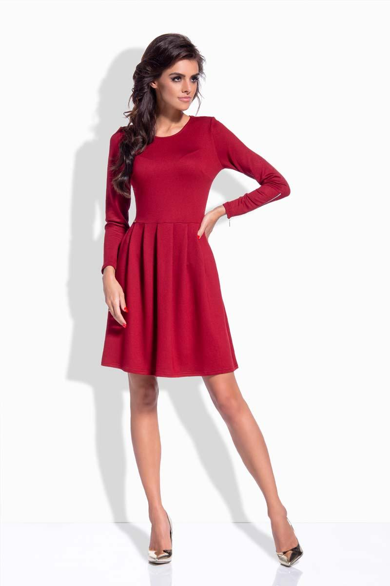 Maroon Round Neckline Flared Dress with Zipps