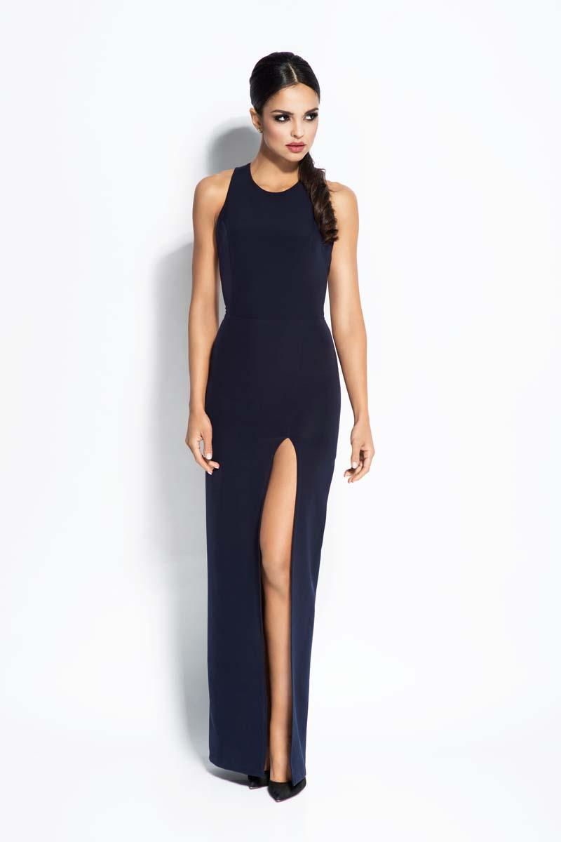 Dark Blue Elegant Maxi Evening Dress with Long Slit