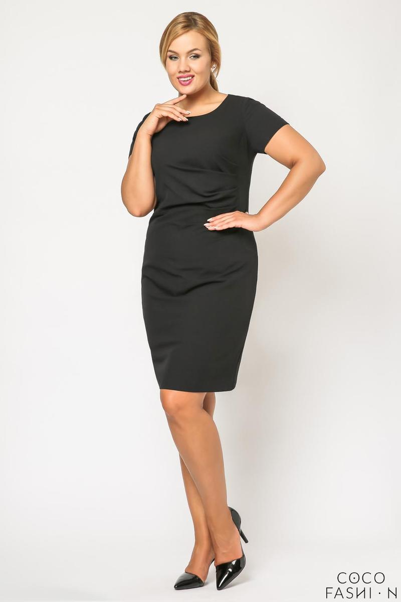 Black Wrinkled Knee Length Coctail Dress PLUS SIZE