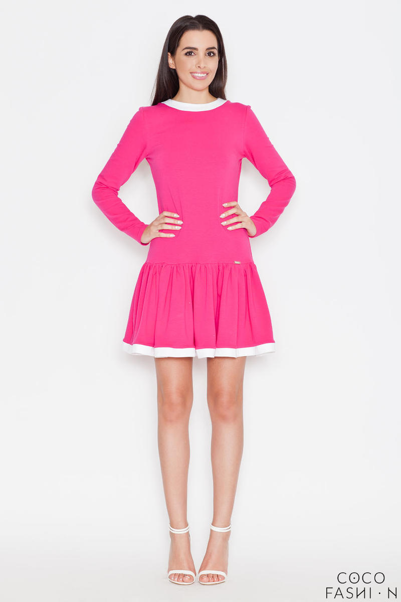 Pink Long Sleeves Dress with White Contrasting Piping от cocofashion