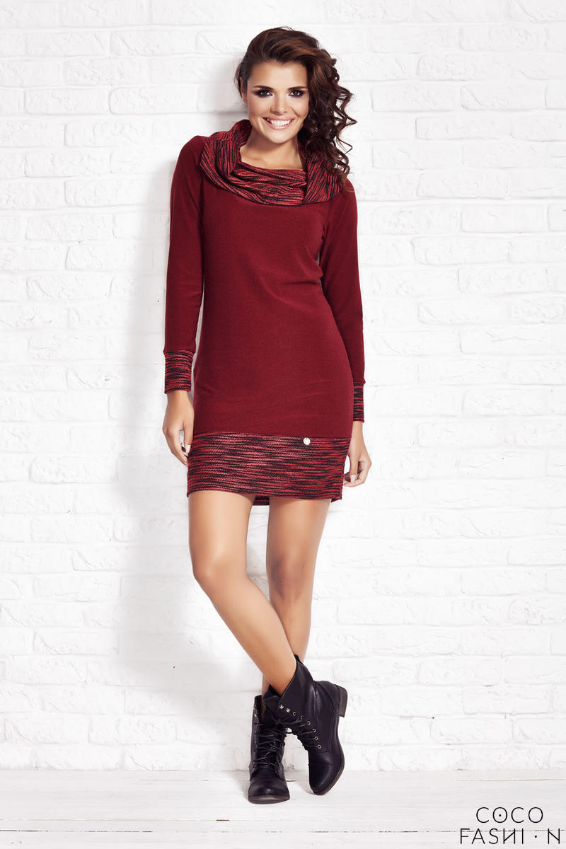 Crimson Shift Dress with Flecked Cowl Neck от cocofashion