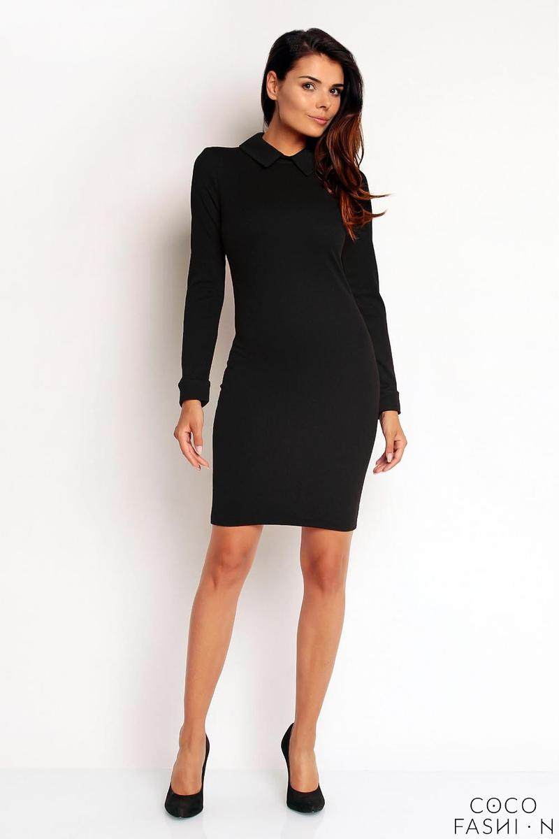black-bodycon-fit-shirts-style-collar-cuffs-dress