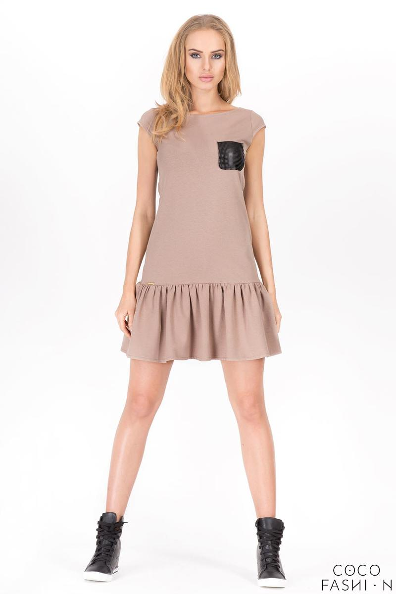 Cappuccino Summer Dress with Little Chest Pocket