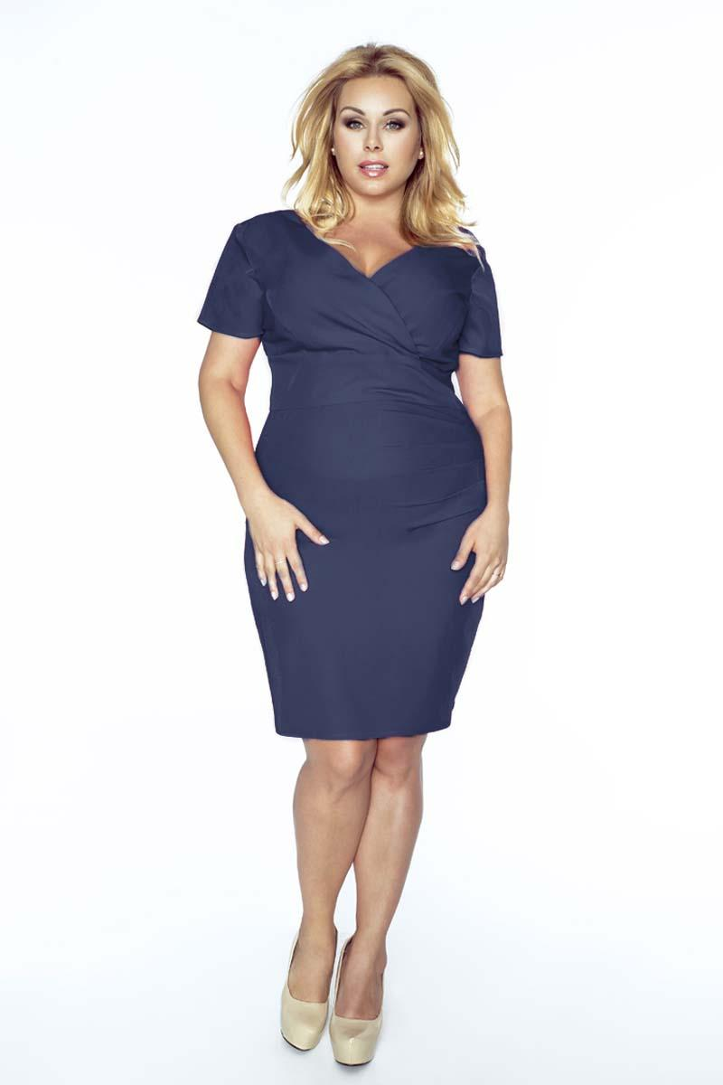 Dark Blue Coctail Dress with V-Neckline PLUS SIZE