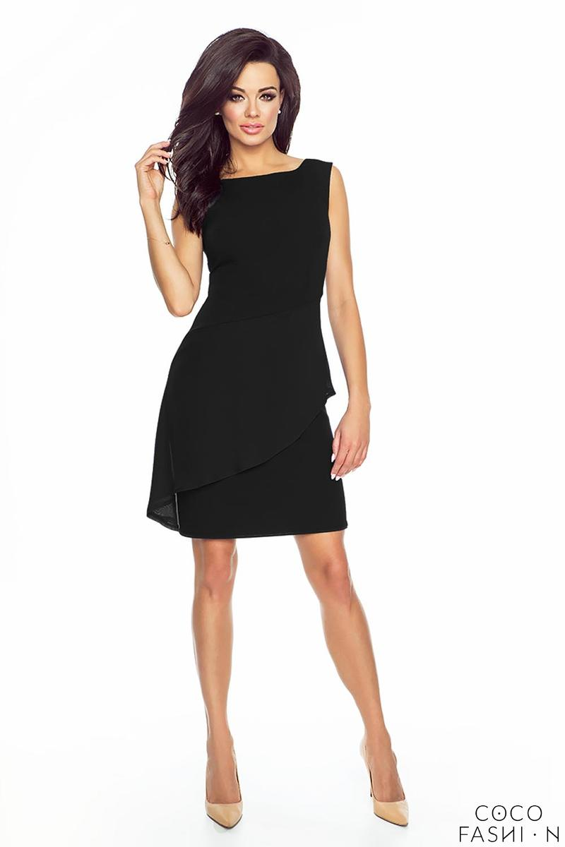 Black Coctail Dress with Chiffon Frill
