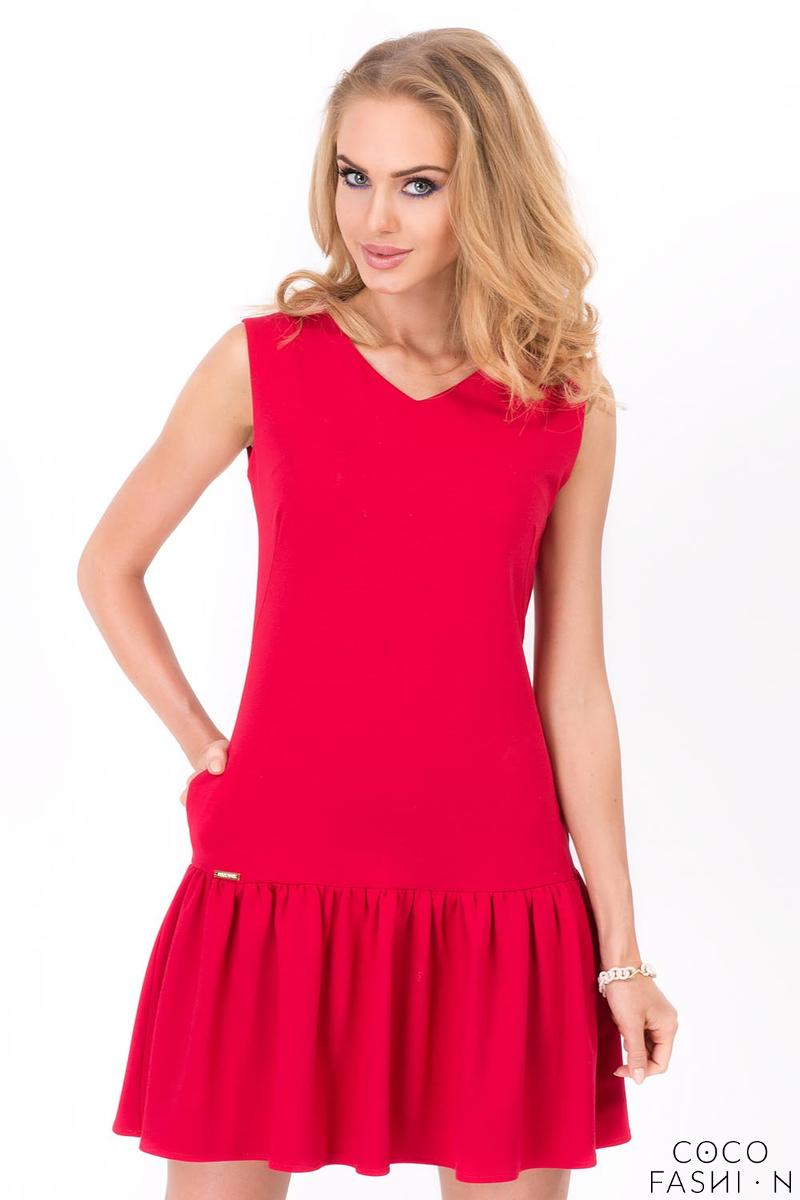 Red Summer Style Frilled Sleeveless Mini Dress от cocofashion