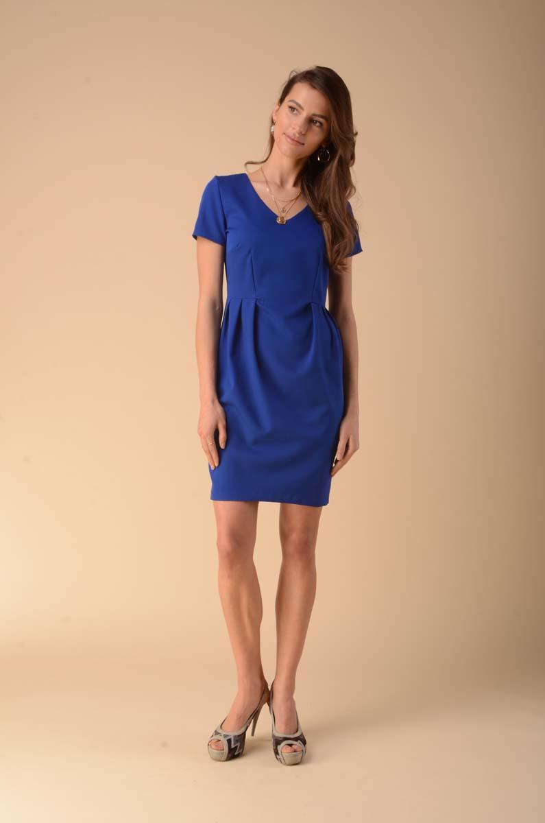 Fitted Dress with Shaping Tabs - Blue