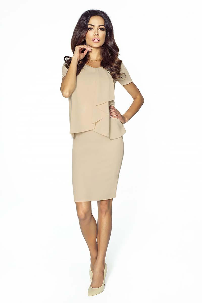 beige-elegant-two-layers-dress