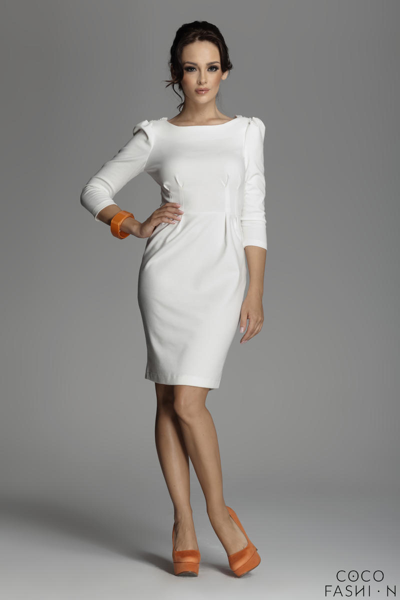 Off White Bateau Neck Sheath Dress with Long Sleeves от cocofashion