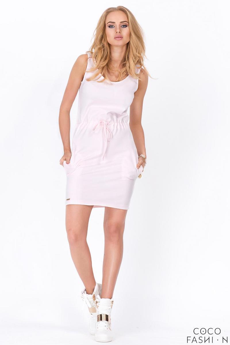 Pink Summer Style Side Pockets Drawstring Waist Mini Dress от cocofashion