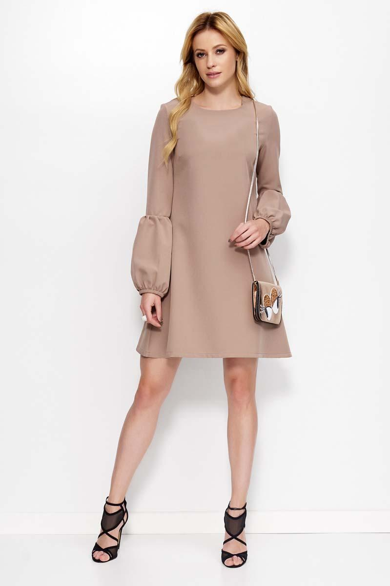 Cappuccino Flared Dress with Unique Sleeves
