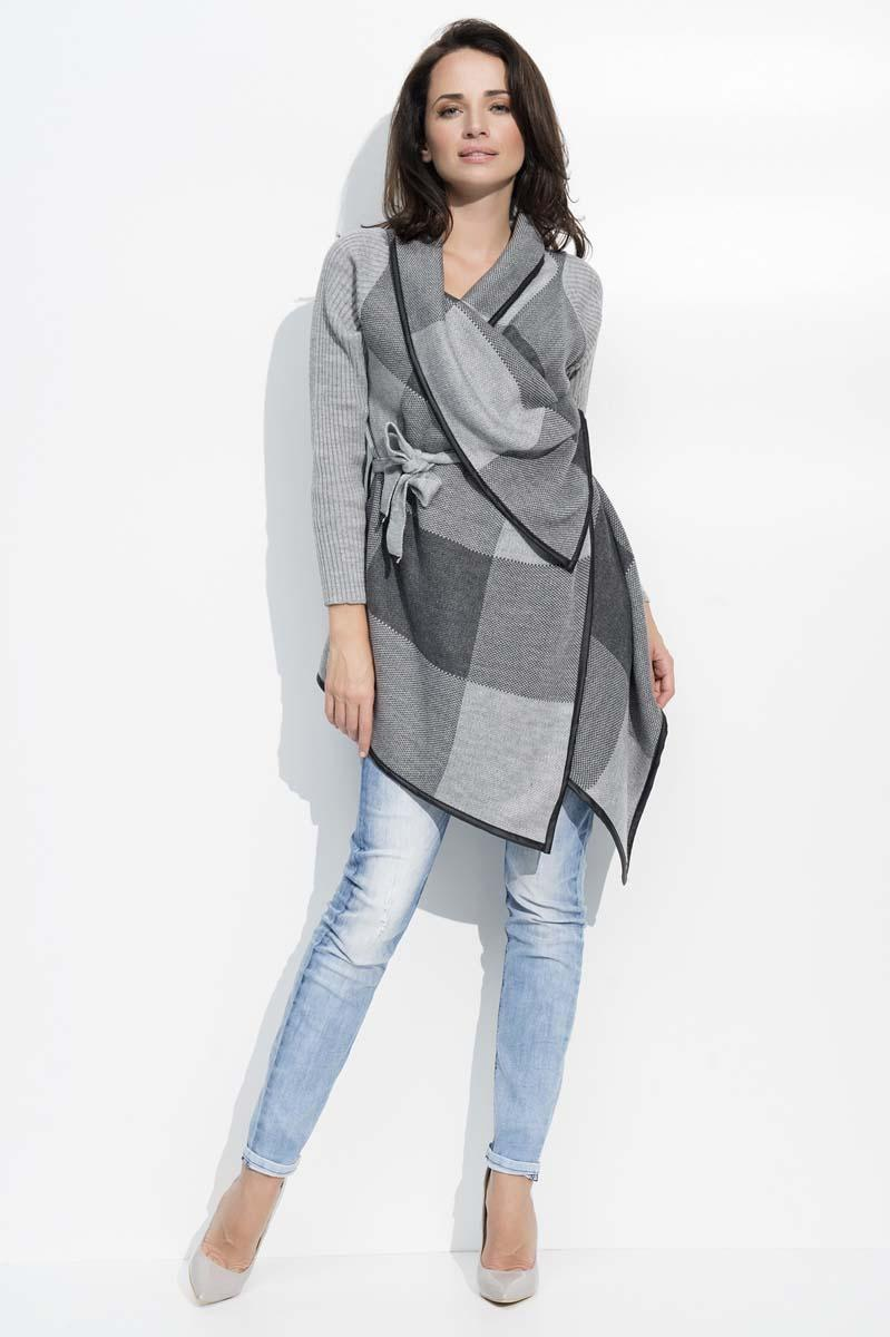 dark-grey-geometric-pattern-belted-cardigan