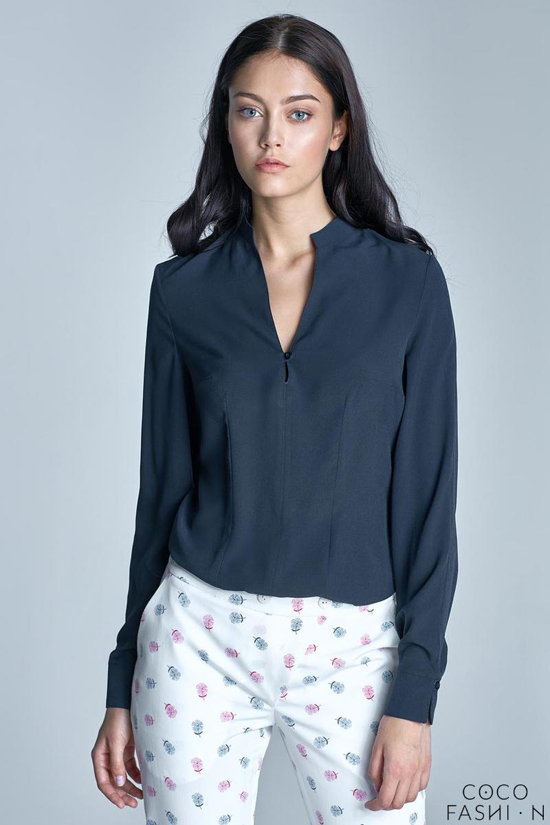 Dark Blue Long Sleeved Stand-up Collar Shirt