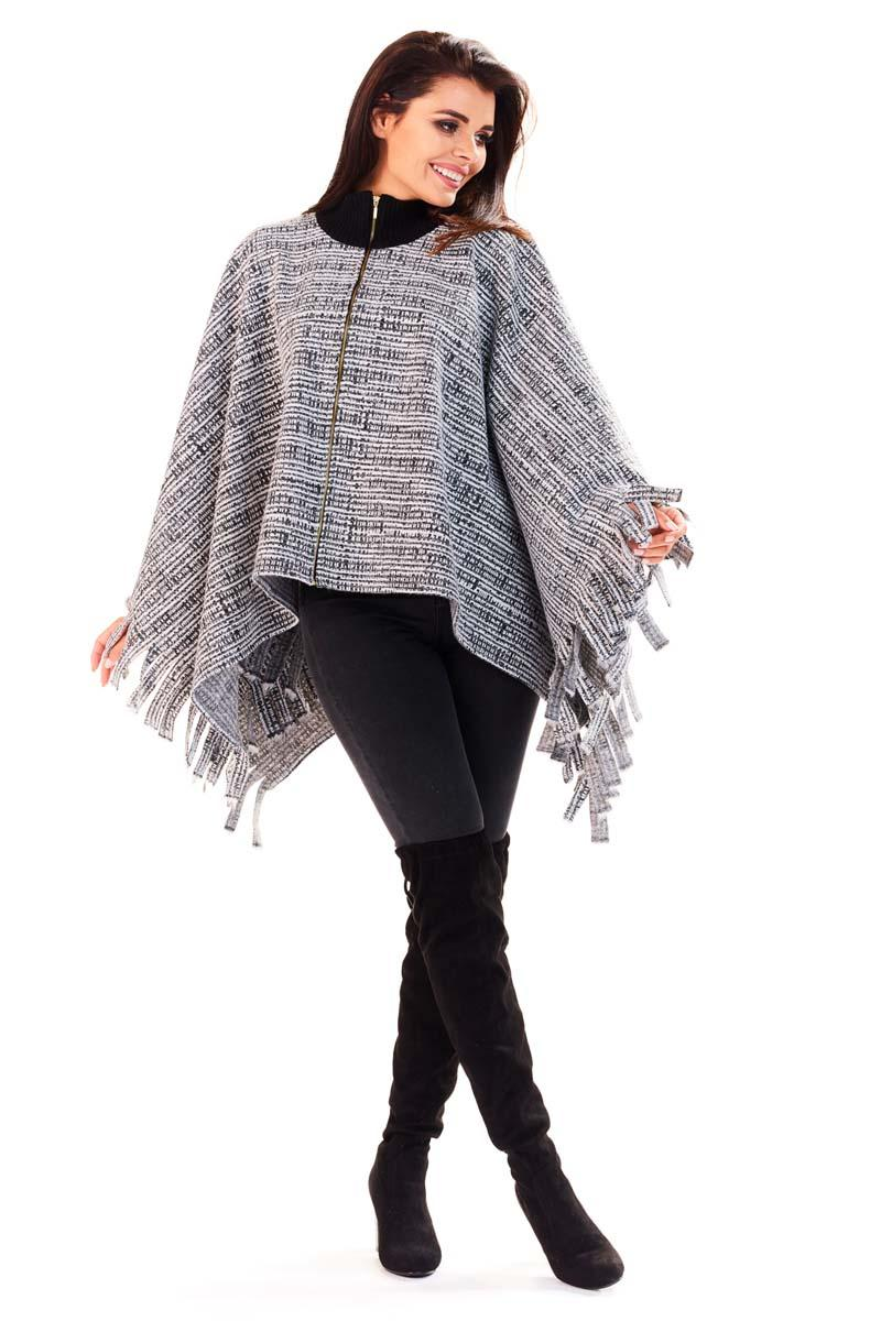 Grey Poncho Sweater with Fringes