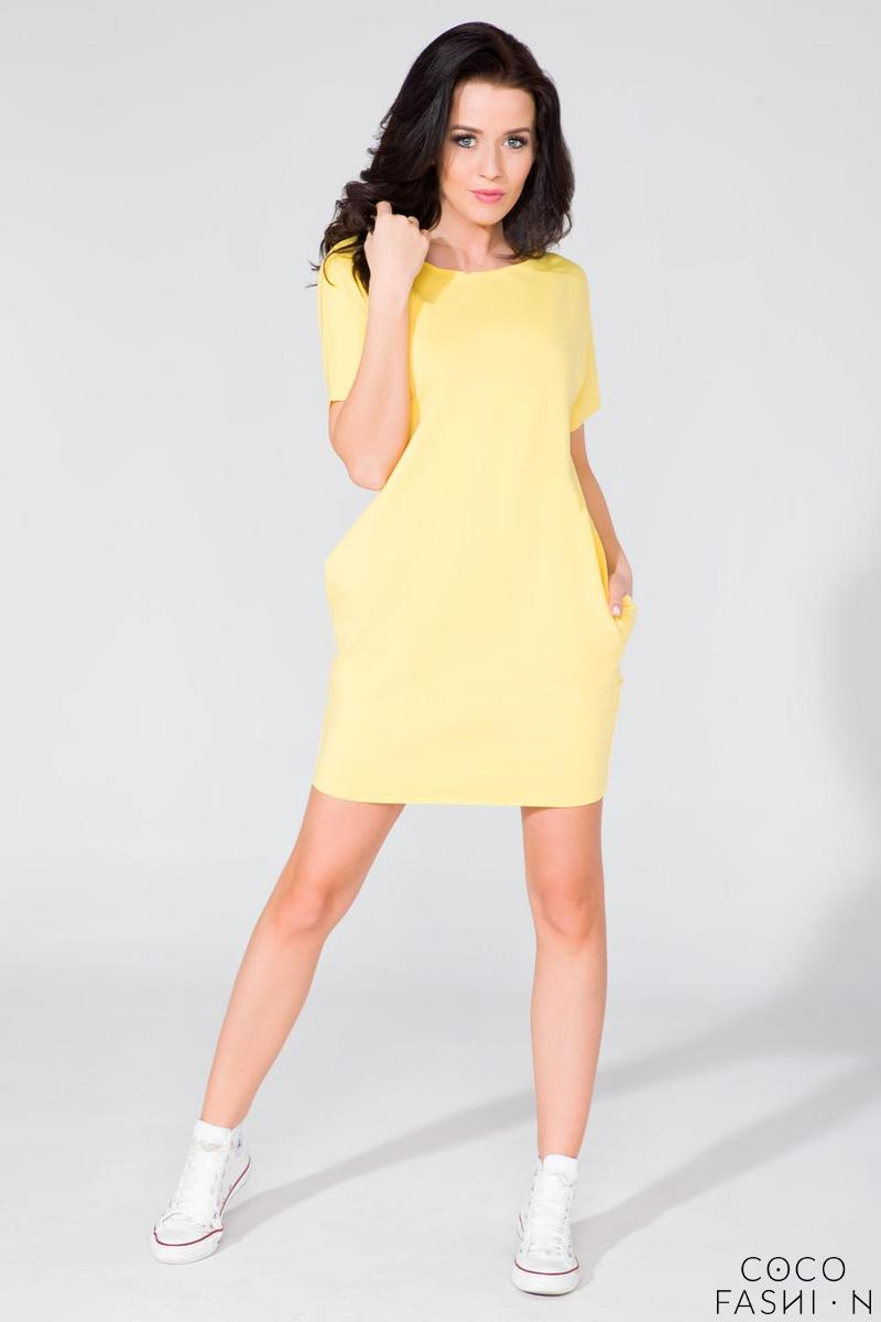 Yellow Simple Mini Dress with Side Pockets