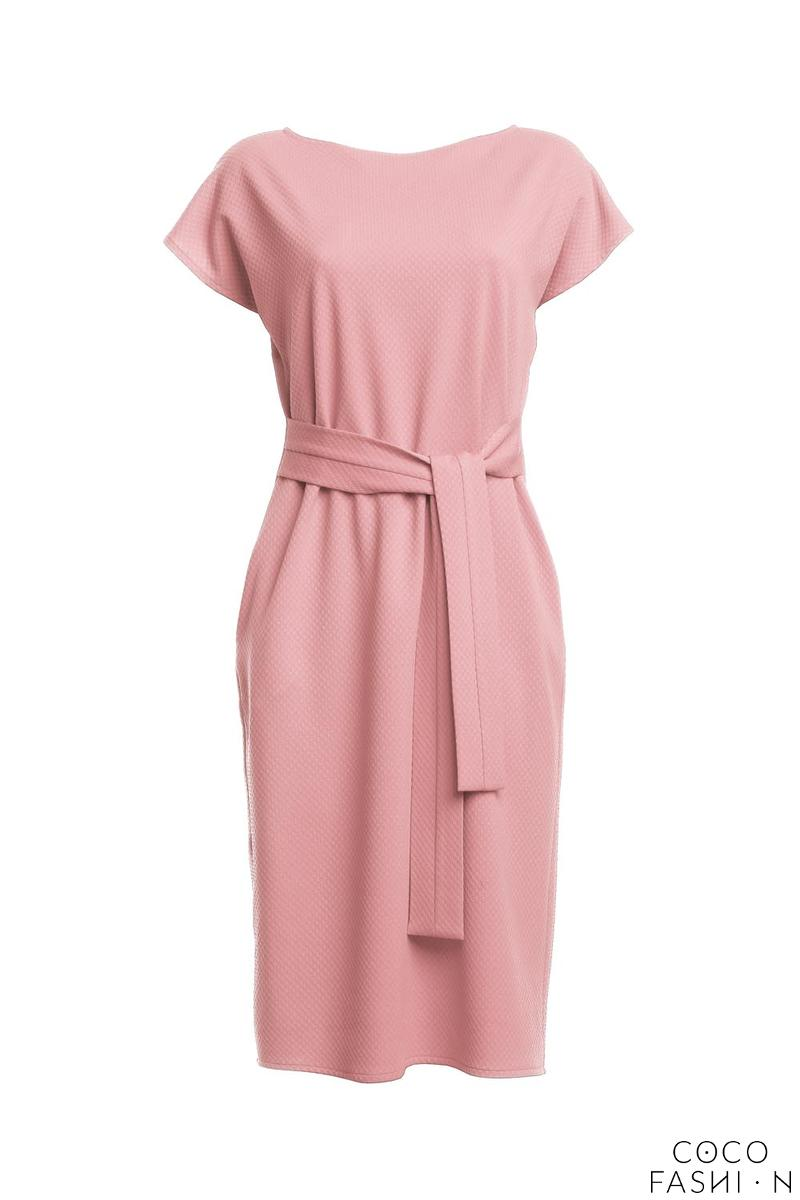 eba845cc41b Light Pink Classic Belted Midi Dress