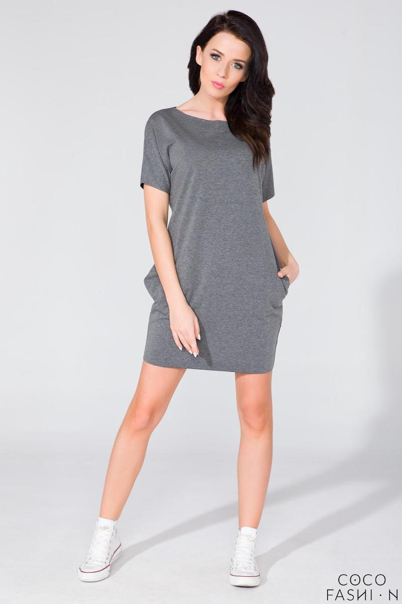 Grey Simple Mini Dress with Side Pockets