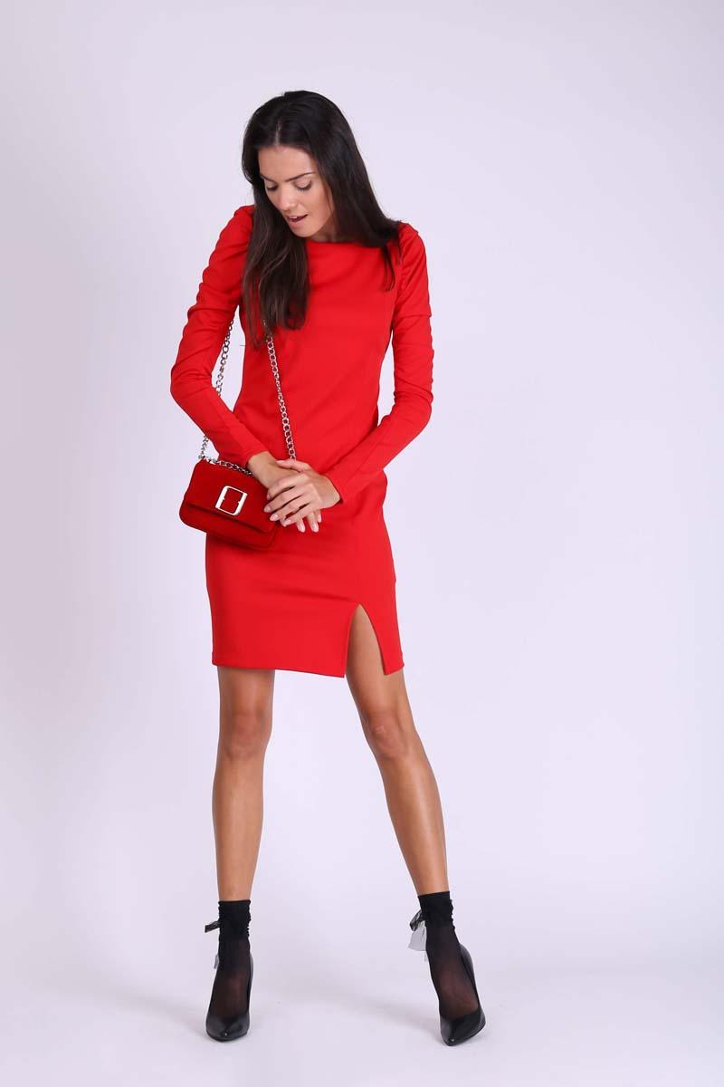 Red Pencil Dress with Draped Sleeve