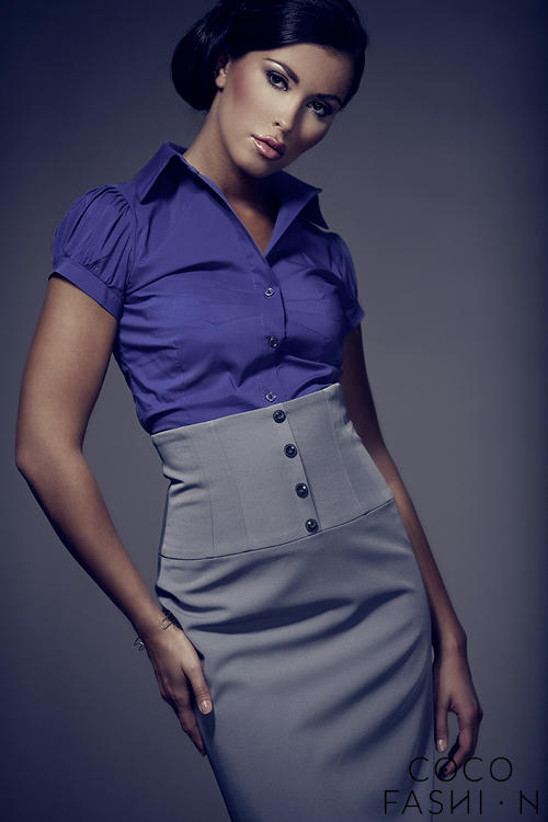Dark Purple Collared Blouse with Pleated Cap Sleeves от cocofashion