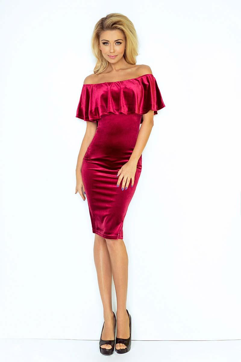 Dark Red Bodycon Dress with Frilled Offshoulders Neckline