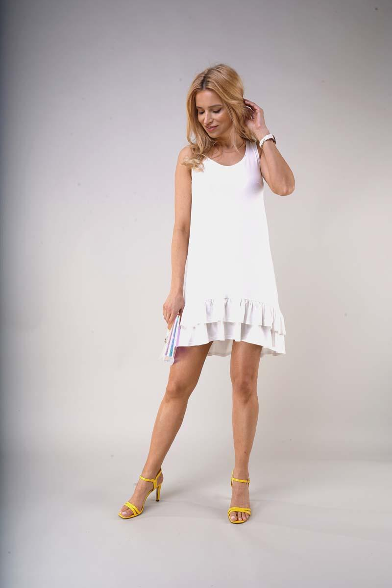 Loose Sleeveless Dress with Frills - Ecru