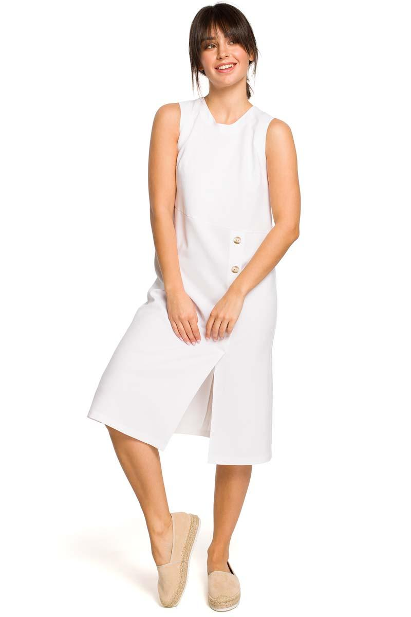 White Trapezoidal Sleeveless Dress with Buttons