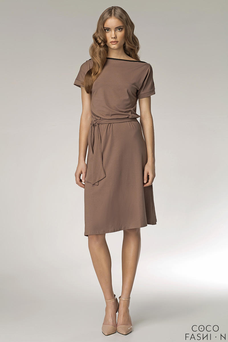 coffee-bateau-neck-self-belted-shift-dress