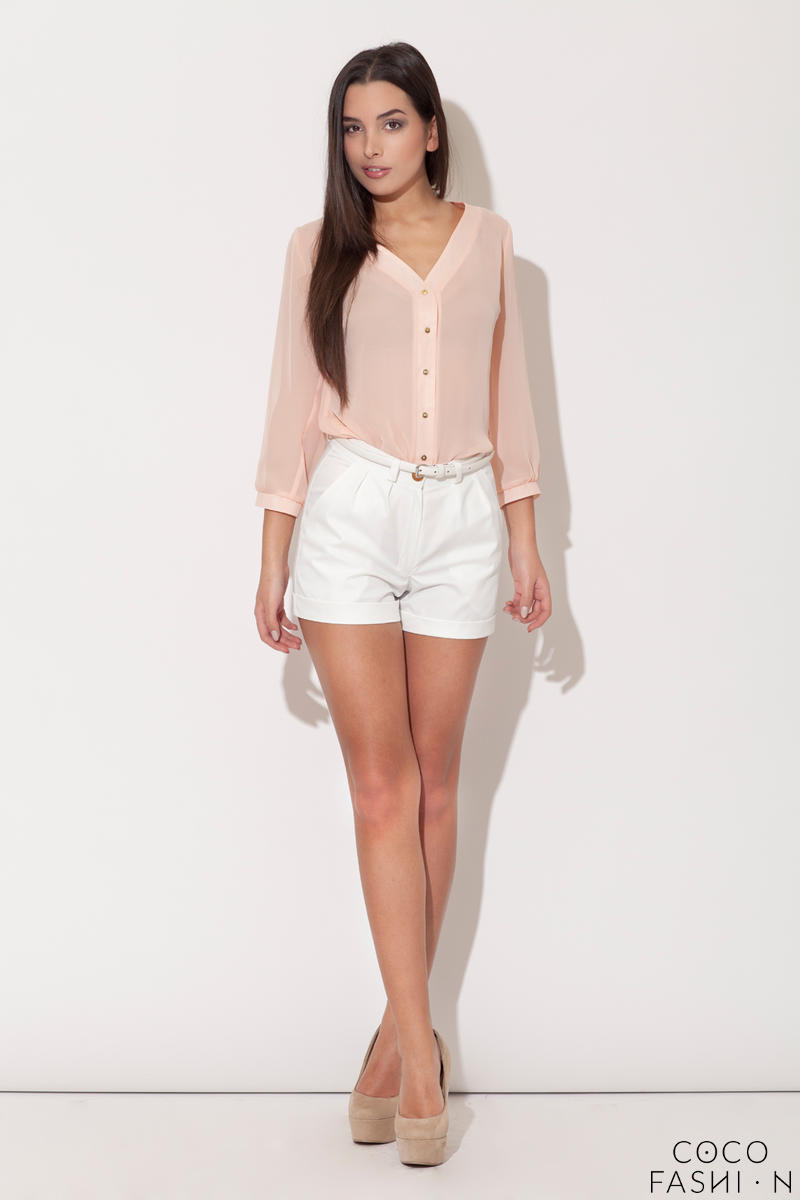 pink-plunging-v-neckline-blouse-with-metallic-buttons