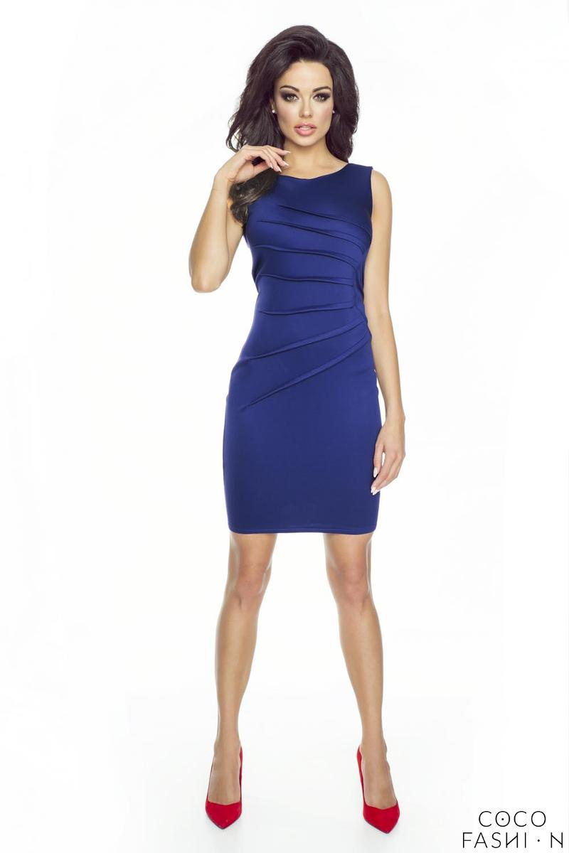Blue Classic Fitted&Wrinkled Mini Dress