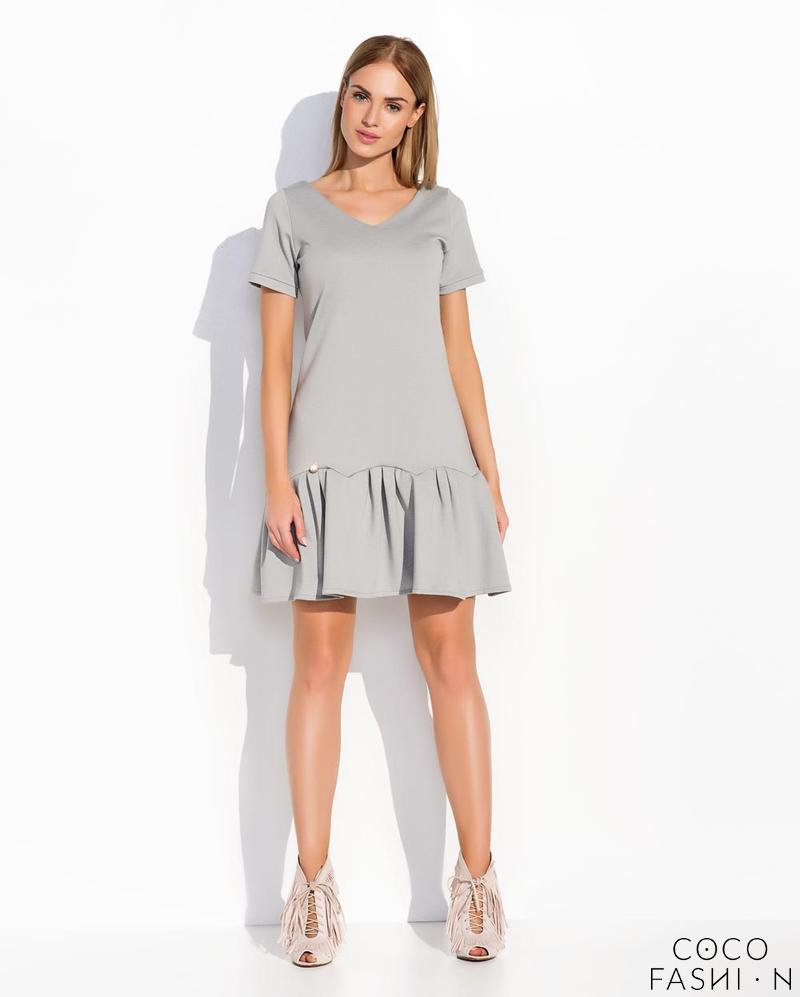 Grey Casual Style Short Sleeves Dress with Frilled Bottom Part