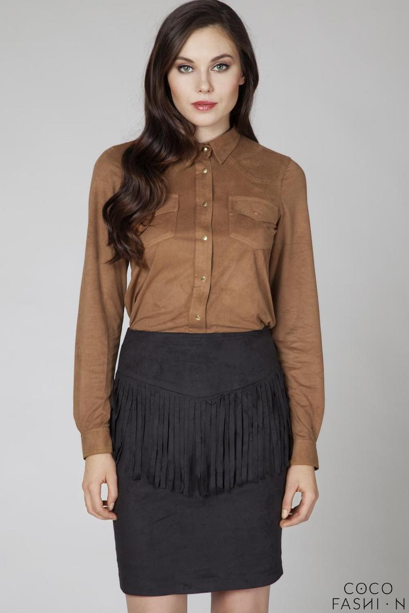 Camel Brown Suede Shirt with Pockets and Snaps Closure