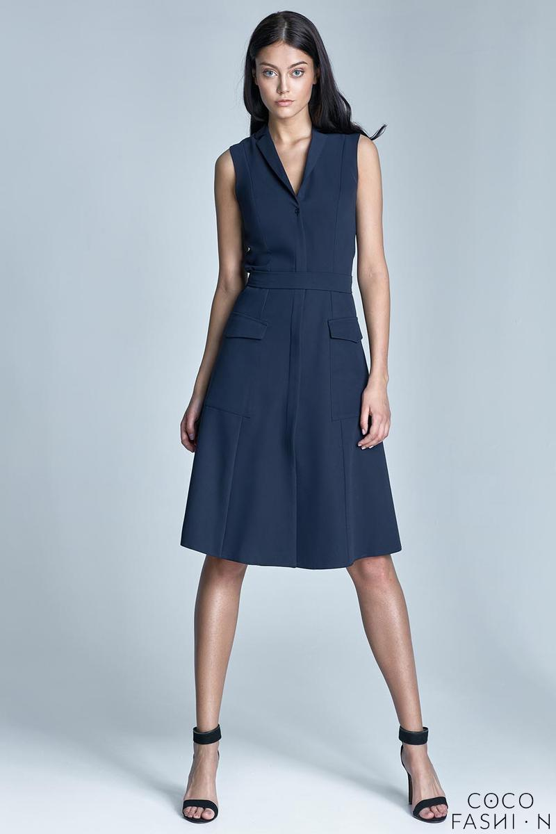 Dark Blue Sleeveless Flared Shirt Dress