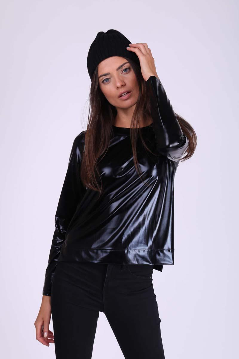 Black Simple Blouse with Shimmering Fabric