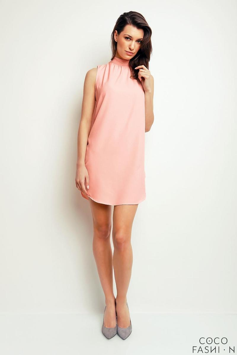 Salmon Pink Sleeveless Tourtleneck Mini Dress